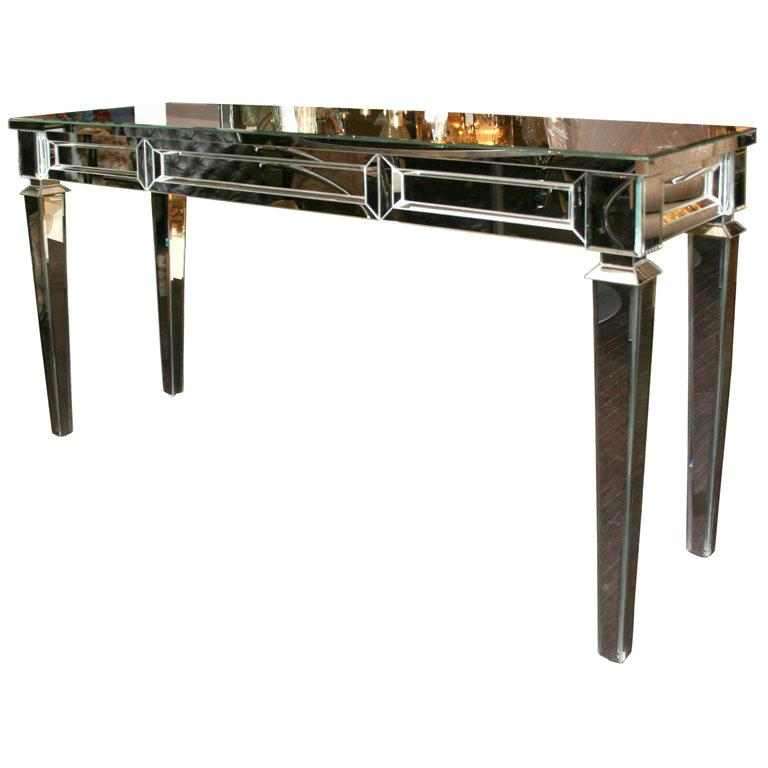 Neoclassical Modern Mirrored Console Table