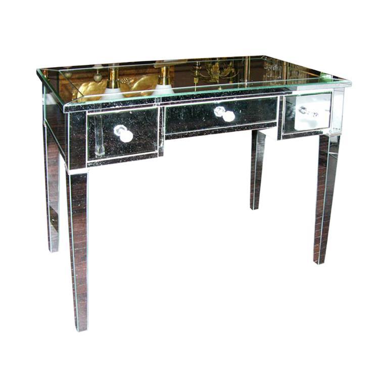Classic Modern Mirrored Desk For Sale