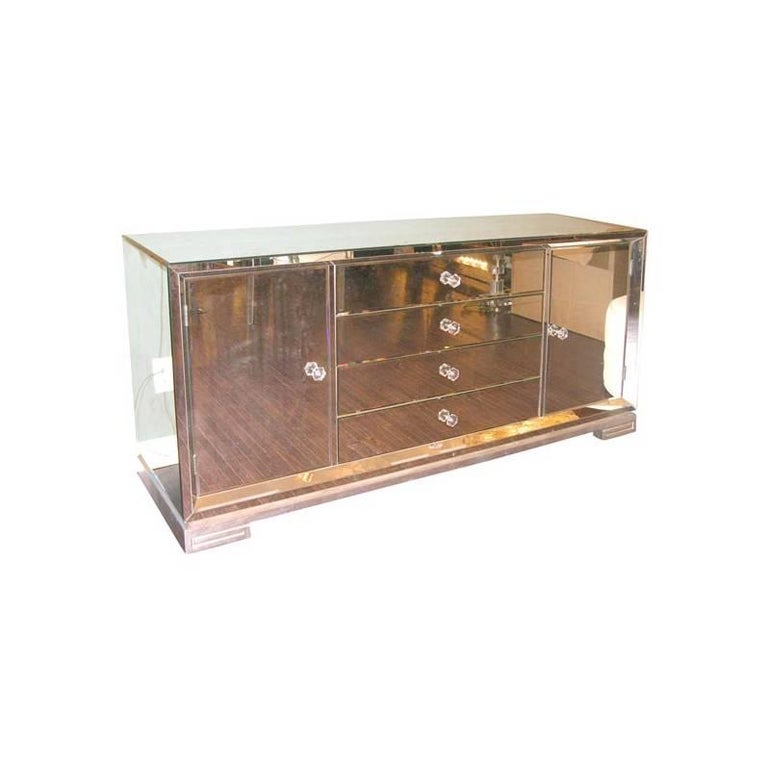 Custom Mirrored Greek Key Base Console