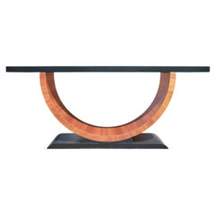 Custom Modern Art Deco Black and Natural Round Base Console / Sofa Table