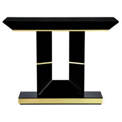 Custom Modern Black Lacquered Console Table by Carrocel