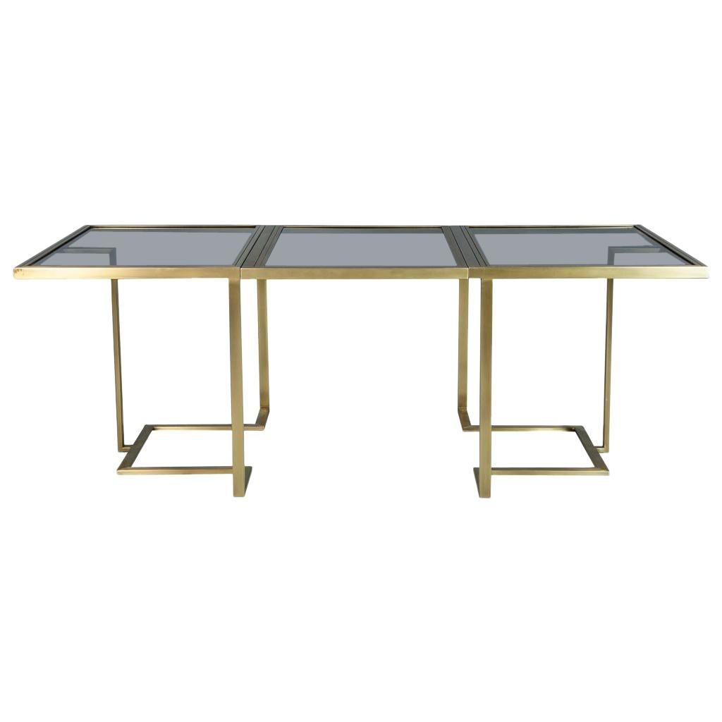 Custom Modern Brass Dining Table with Glass Top Fully Expandable by Carrocel
