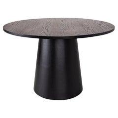 Custom Modern Center Table in Richmoned Walnut and Matte Ebonized Finish