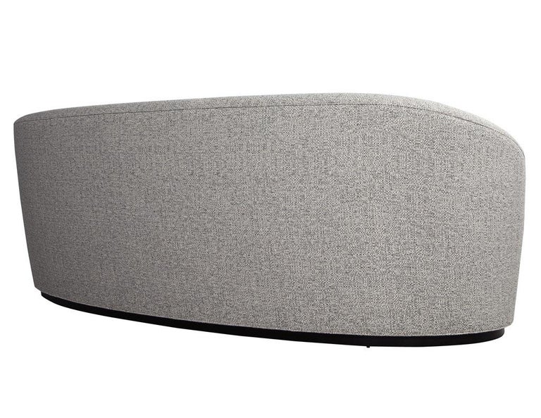 Custom Modern Curved Sofa in Grey Textured Linen For Sale 4