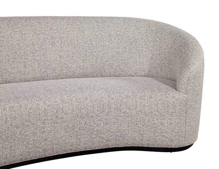 Canadian Custom Modern Curved Sofa in Grey Textured Linen For Sale