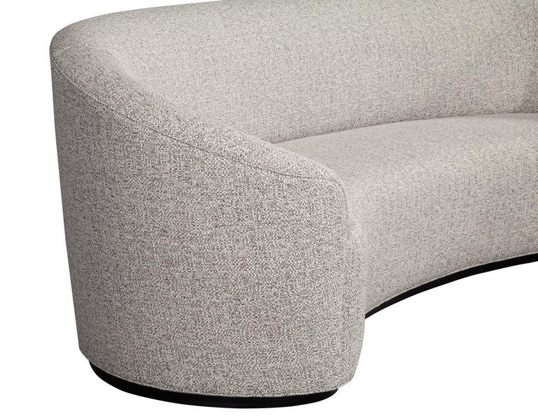 Fabric Custom Modern Curved Sofa in Grey Textured Linen For Sale