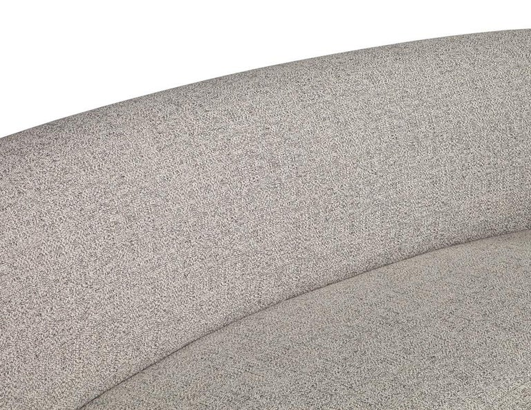 Custom Modern Curved Sofa in Grey Textured Linen For Sale 1