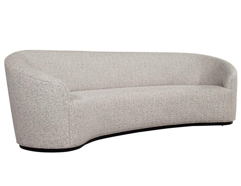 Custom Modern Curved Sofa in Grey Textured Linen For Sale 2