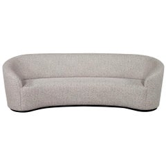 Custom Modern Curved Sofa in Grey Textured Linen