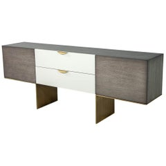 Custom Modern Distressed Grey and White Sideboard Credenza