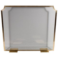 Custom Modern Fire Screen in Polished Brass with Curved Corner Detail