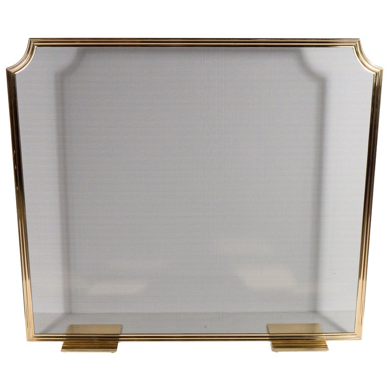 Custom Modern Fire Screen in Polished Brass with Curved Corner Detail For Sale