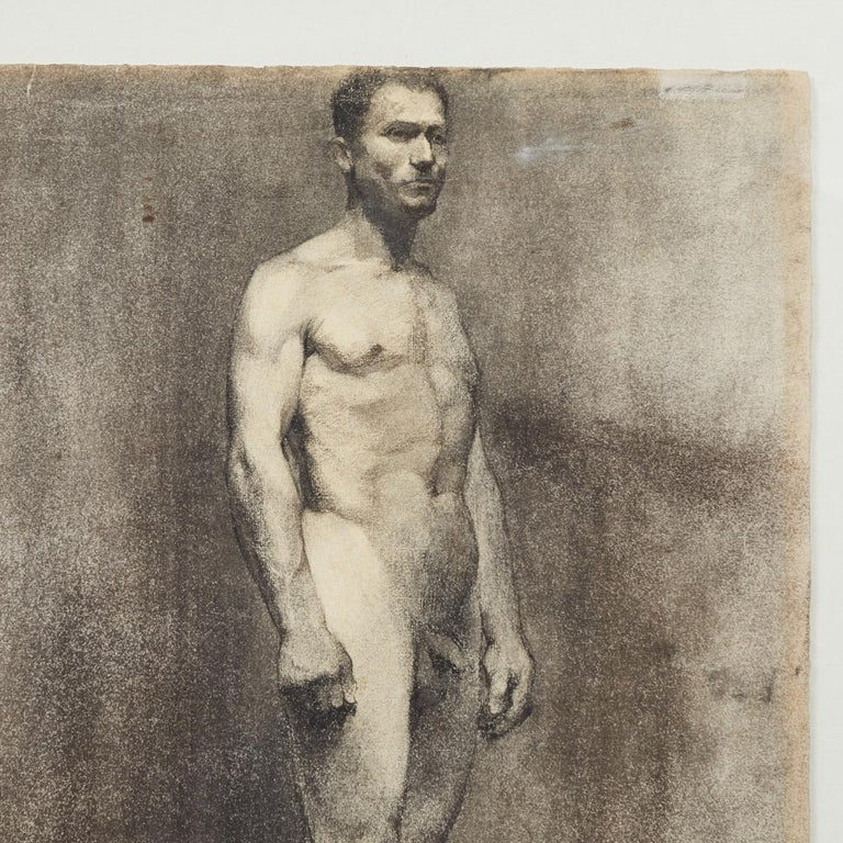 Custom modern-framed charcoal standing male nude drawing by artist Landini, Italy, 1908.