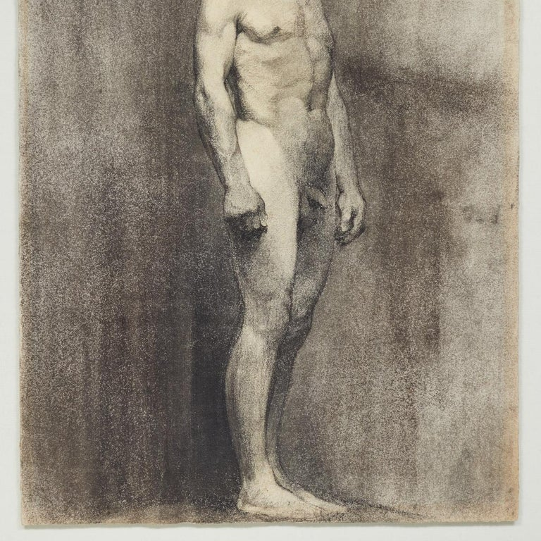 Art Nouveau Custom Modern Framed Charcoal Male Nude Drawing by Artist Landini, Italy, 1908 For Sale