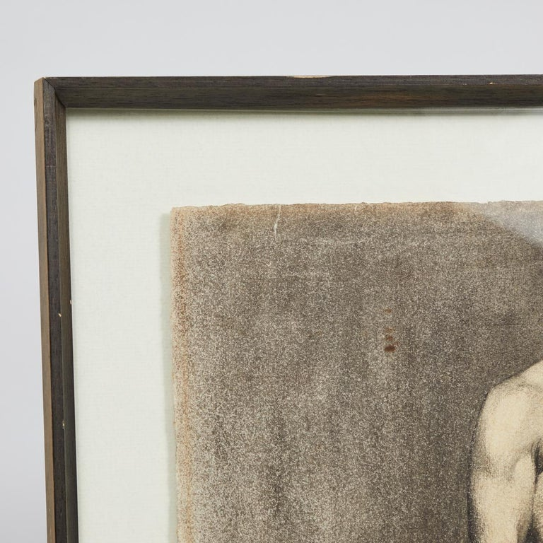Italian Custom Modern Framed Charcoal Male Nude Drawing by Artist Landini, Italy, 1908 For Sale