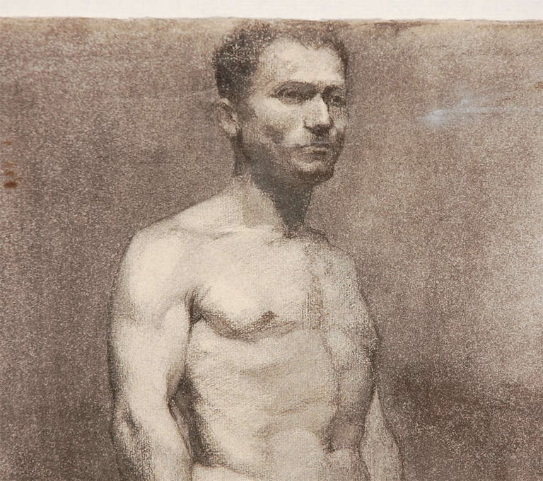 Custom Modern Framed Charcoal Male Nude Drawing by Artist Landini, Italy, 1908 In Good Condition For Sale In Los Angeles, CA