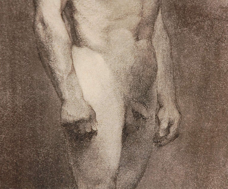 Parchment Paper Custom Modern Framed Charcoal Male Nude Drawing by Artist Landini, Italy, 1908 For Sale