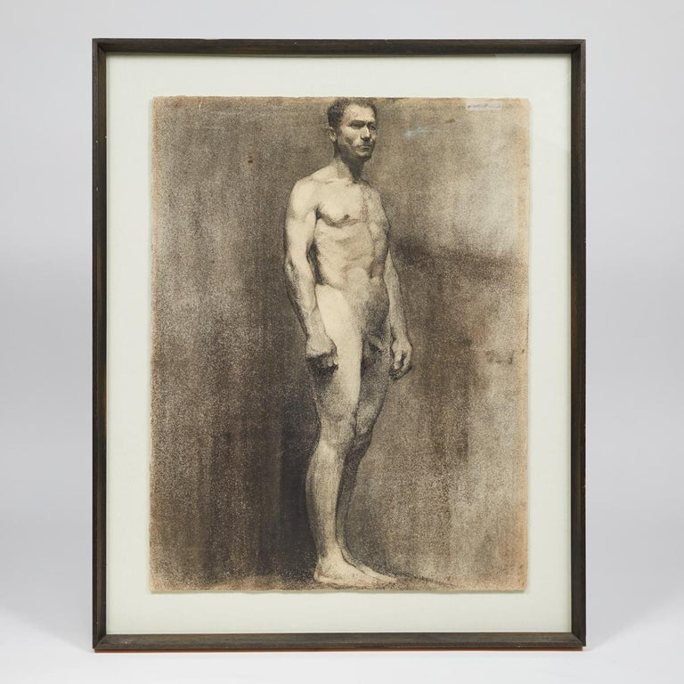 Custom Modern Framed Charcoal Male Nude Drawing by Artist Landini, Italy, 1908 For Sale 1