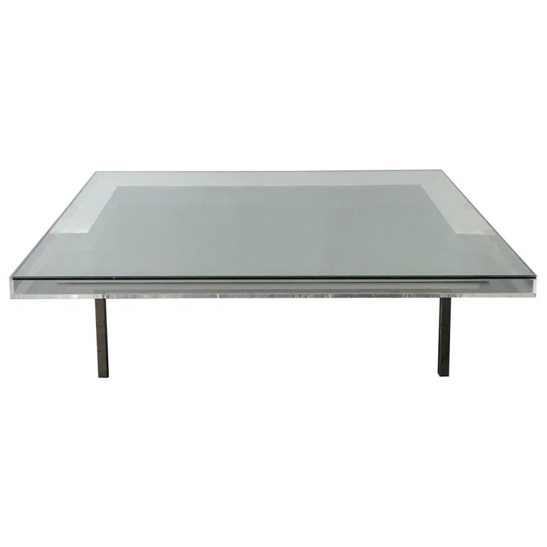 Custom Modern Glass And Acrylic Pigment Coffee Table With