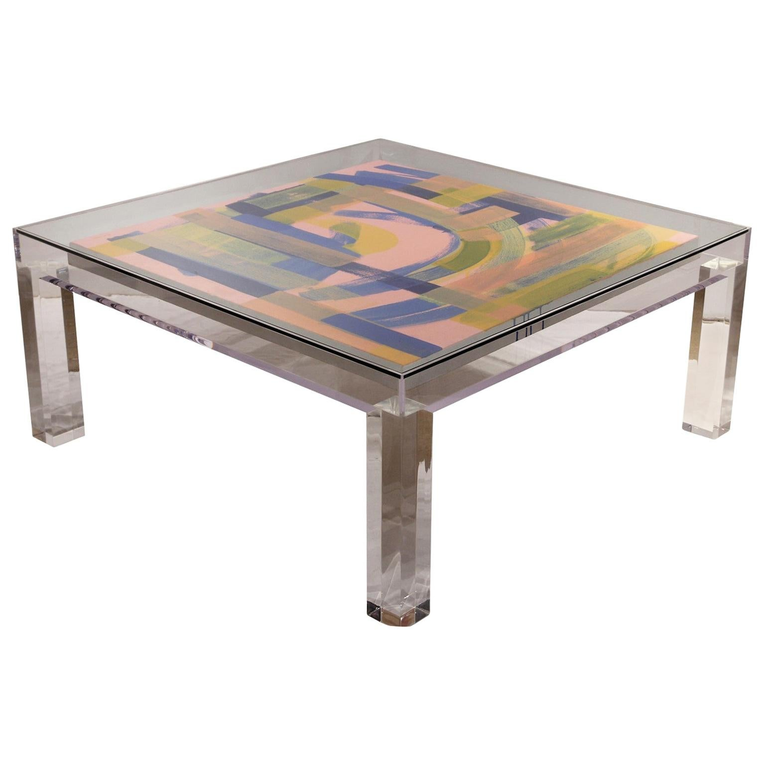 Custom Modern Glass Top Clear Lucite Display Coffee Table