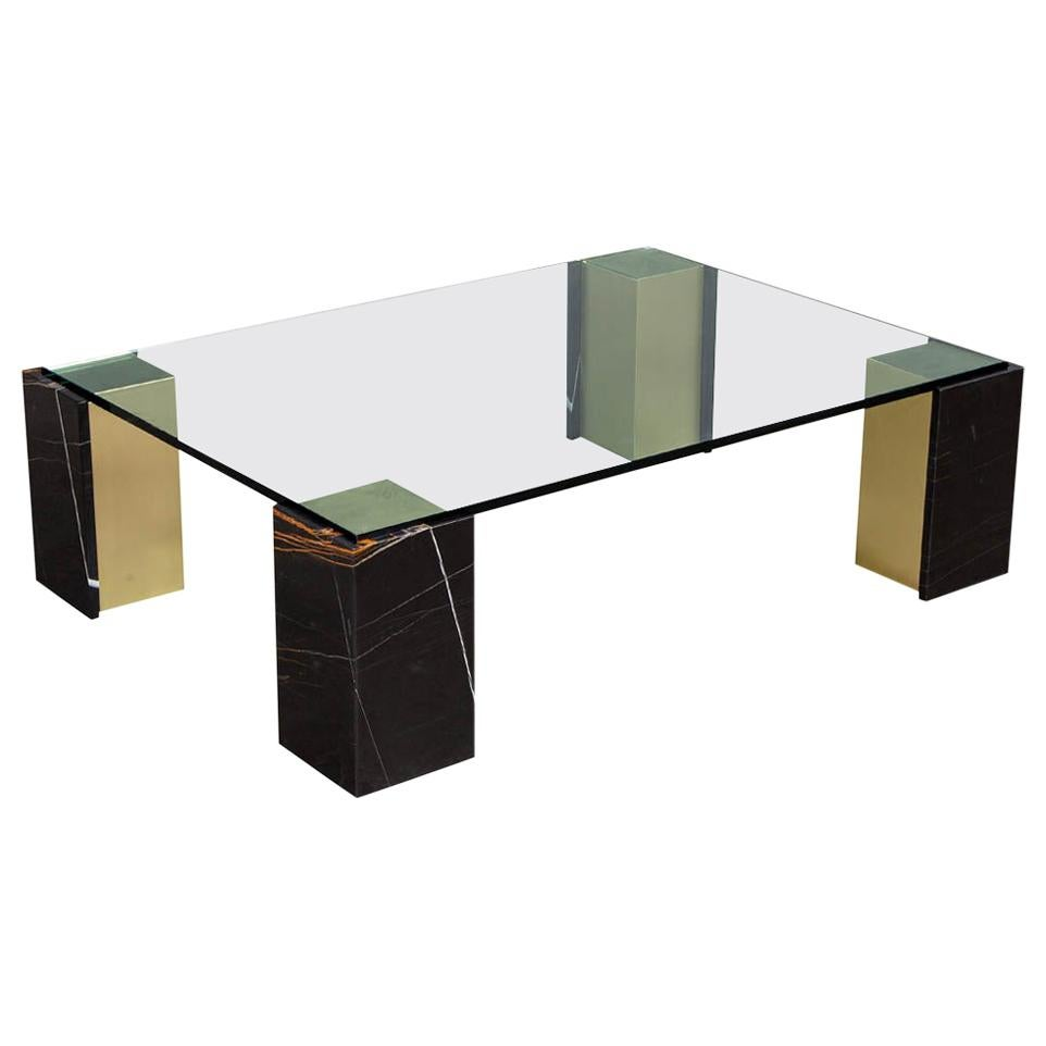 Custom Modern Glass Top Coffee Table with Marble Pedestals by Carrocel