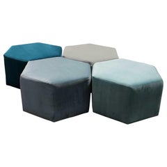 Custom Modern Interconnecting Hexagon Modular Velvet Seats, Stools, Ottomans