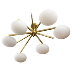 Custom Modern Italian Flush Mount with 9 Arms and 6 Opaline Globes