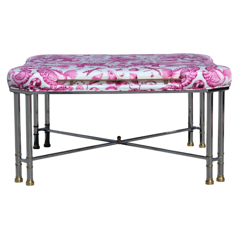Custom upholstered French modern pink and white animalia print bench. Chrome and brass base. Upholstered fabric features tigers, birds and dragonflies etc.