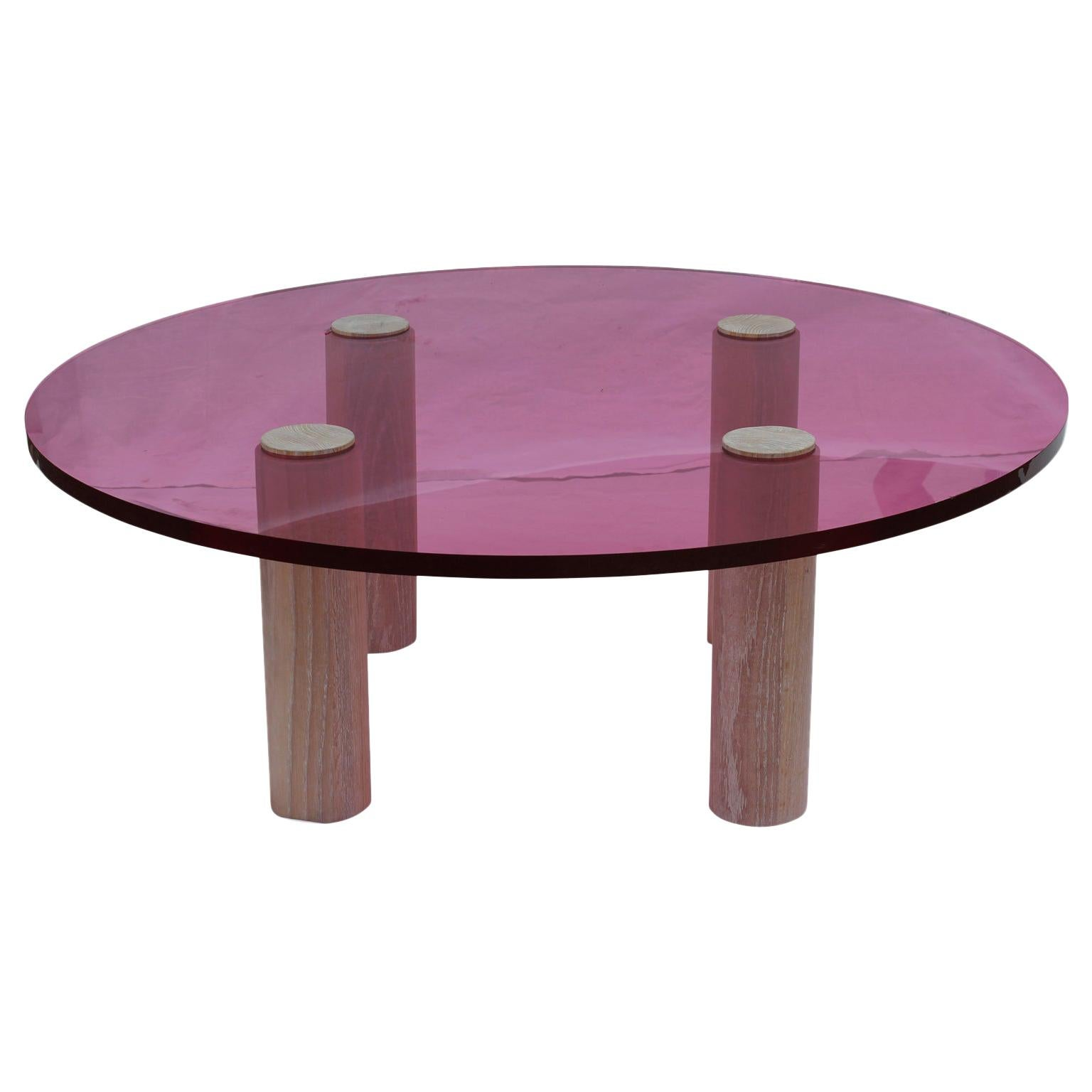 Custom Modern Pop Pink Lucite Round Coffee Table With White