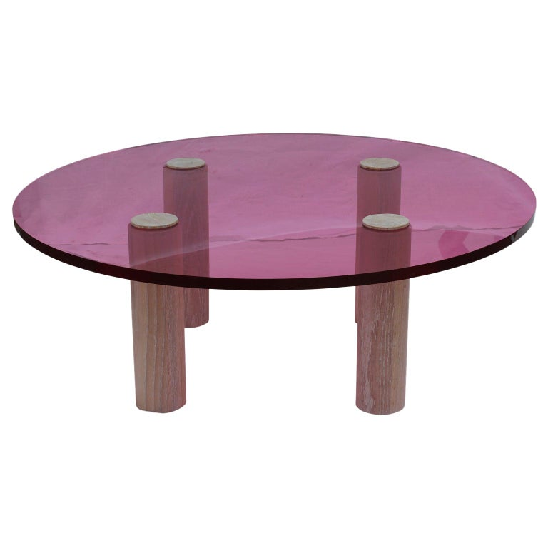Custom Modern Pop Pink Lucite Round Coffee Table With