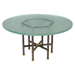 Custom Modern Round Glass Top Dining Table