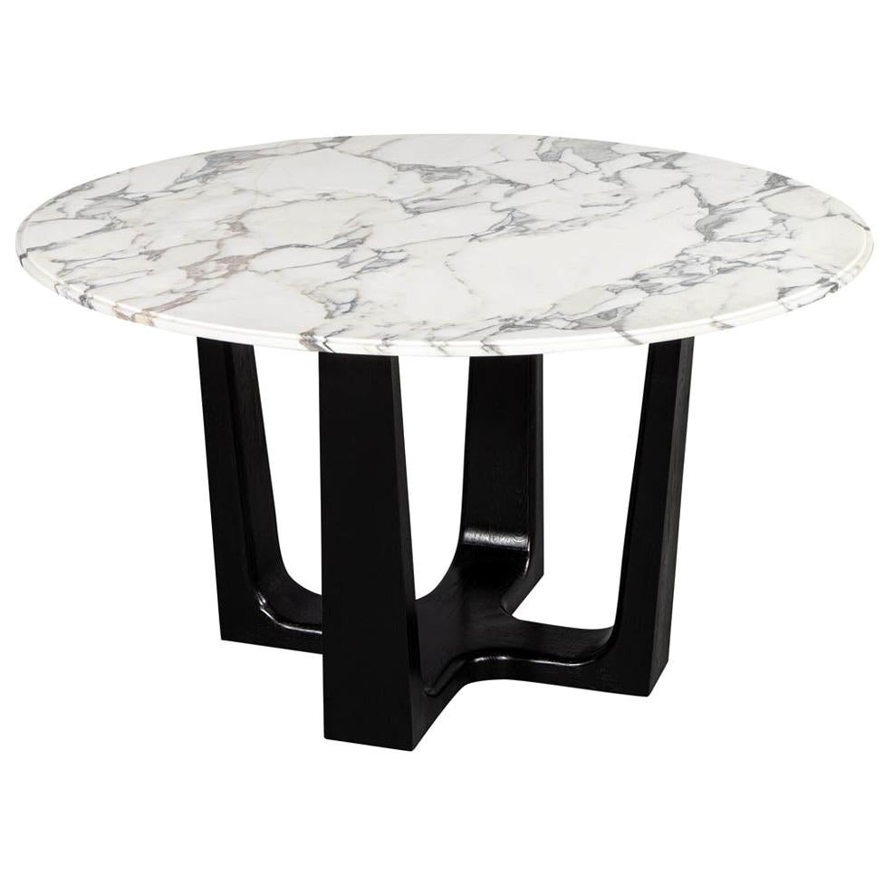 Custom Modern Round Marble-Top Dining Table