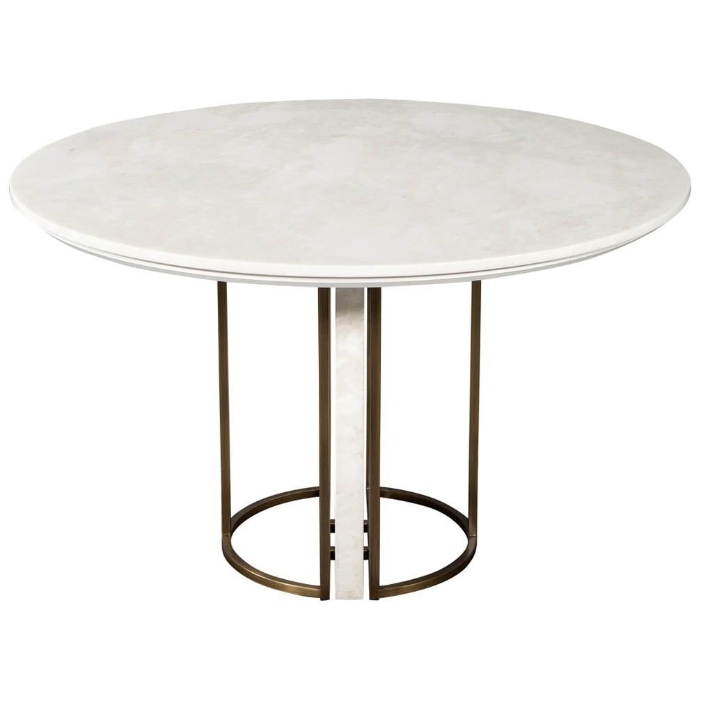 Custom Modern Round Marble Top Dining Table with Brass Detailing