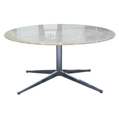 Custom Modern Round Marble-Top Table on a Florence Knoll Chrome Base