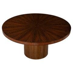 Custom Modern Round Walnut Dining Table in Sunburst Pattern