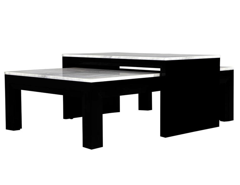 Custom Modern Stone Top Cocktail Table with Nesting Table Design For Sale 4