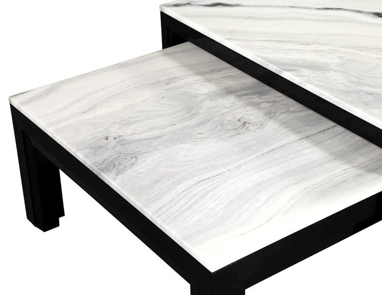 Custom Modern Stone Top Cocktail Table with Nesting Table Design For Sale 6