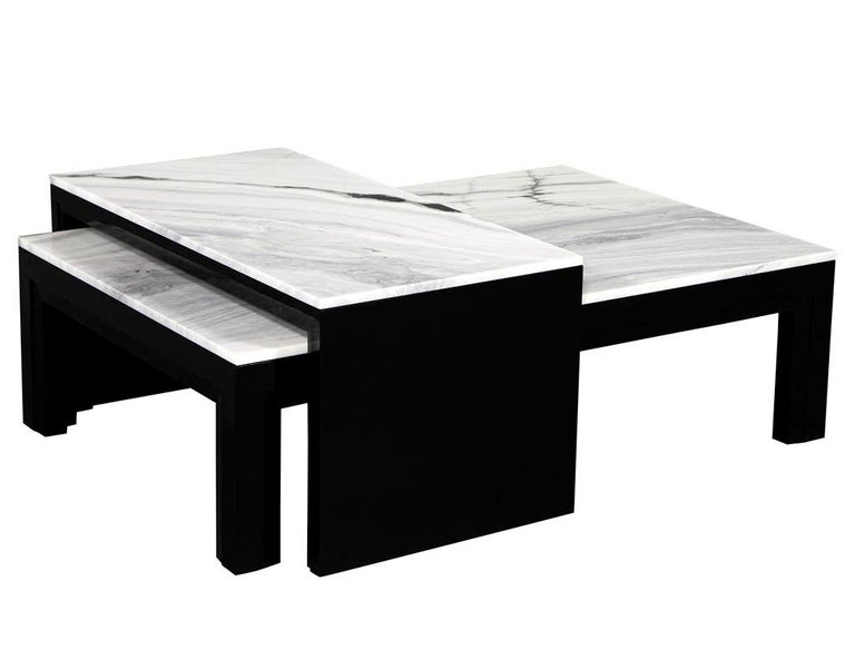 Canadian Custom Modern Stone Top Cocktail Table with Nesting Table Design For Sale