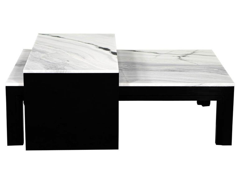 Custom Modern Stone Top Cocktail Table with Nesting Table Design In New Condition For Sale In North York, ON