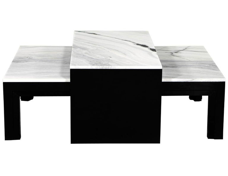 Contemporary Custom Modern Stone Top Cocktail Table with Nesting Table Design For Sale
