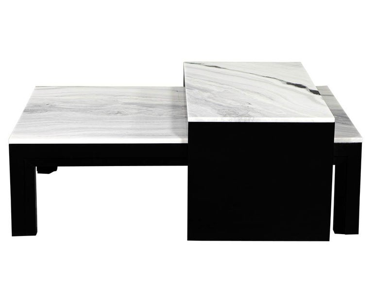 Marble Custom Modern Stone Top Cocktail Table with Nesting Table Design For Sale