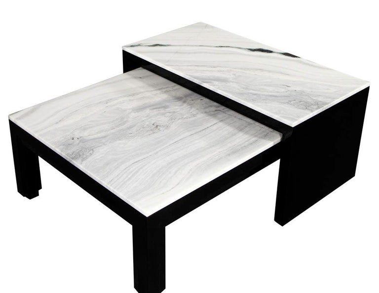 Custom Modern Stone Top Cocktail Table with Nesting Table Design For Sale 1
