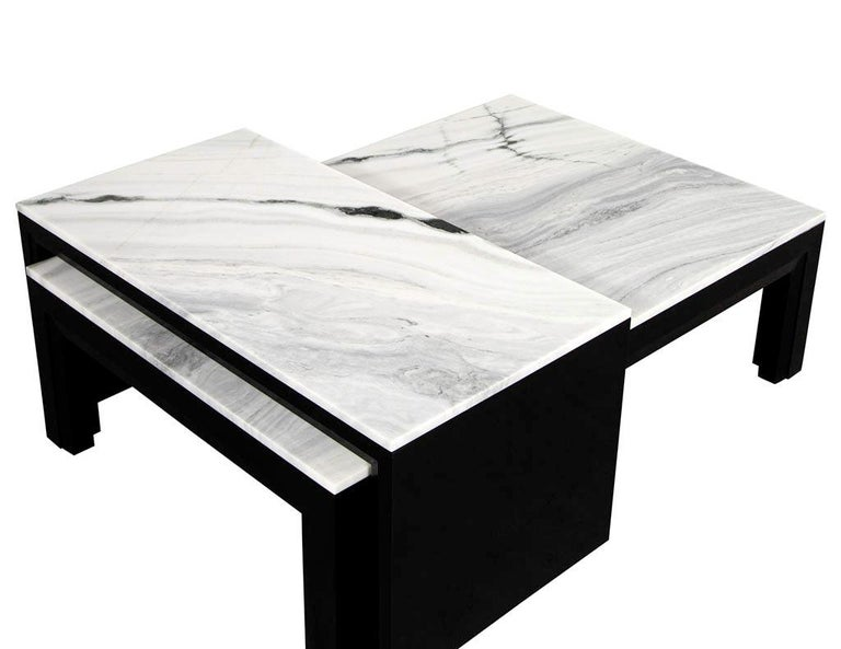 Custom Modern Stone Top Cocktail Table with Nesting Table Design For Sale 2