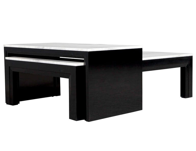 Custom Modern Stone Top Cocktail Table with Nesting Table Design For Sale 3