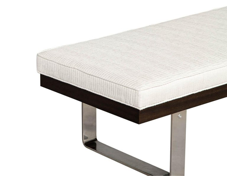 Metal Custom Modern Upholstered Bench For Sale