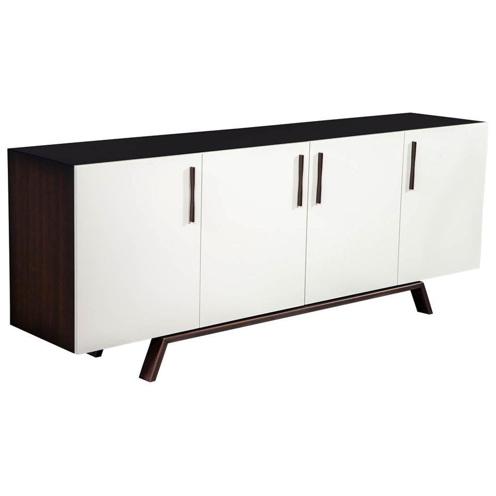 Custom Modern Walnut Brass Sideboard Buffet by Carrocel