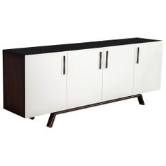 Custom Modern Walnut Brass Sideboard Buffet by Carrocel