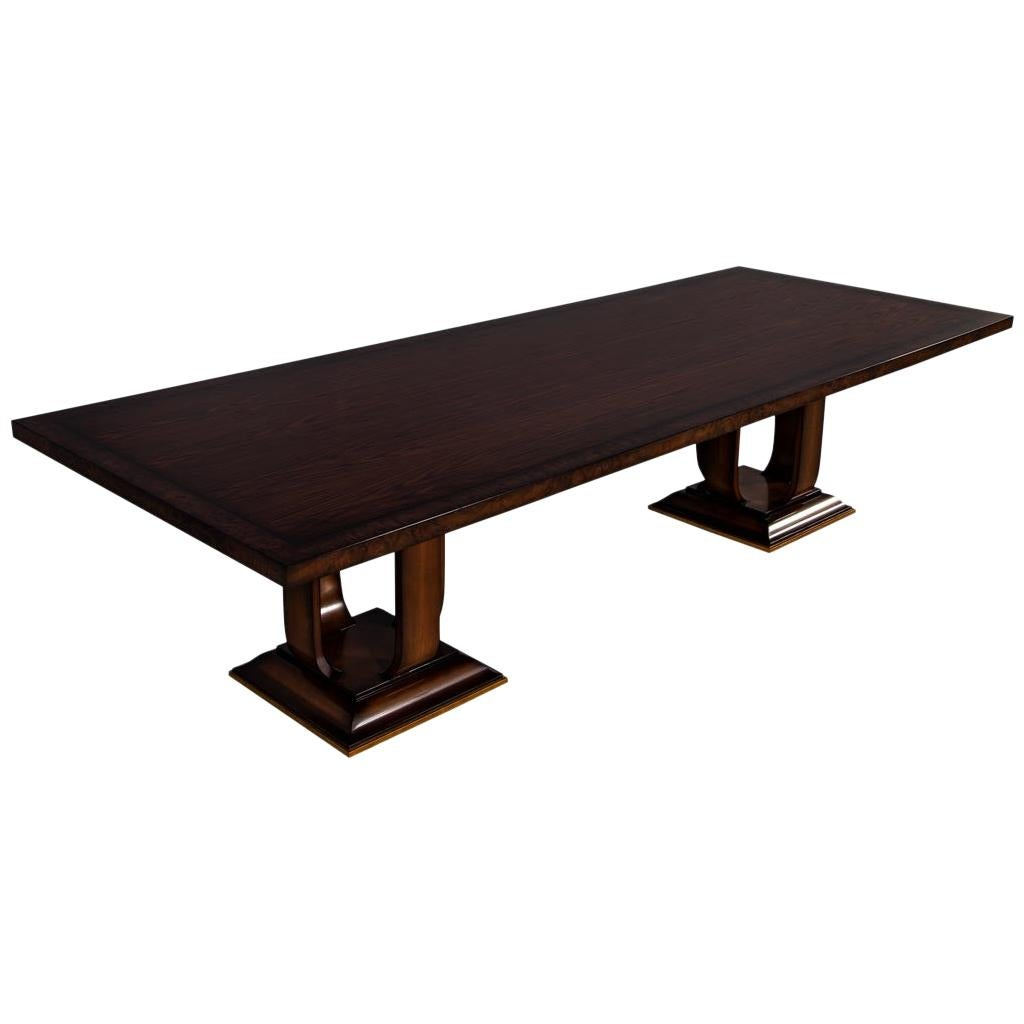 Custom Modern Walnut Dining Table Art Deco Inspired