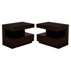 Custom Modern Walnut Two Tier Nightstands End Tables