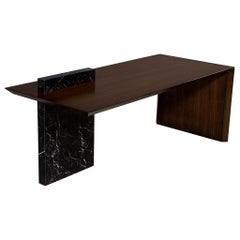 Custom Modern Waterfall Desk with Marble Accent